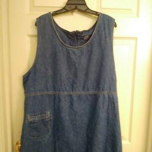 Size 2x denim overall dress.